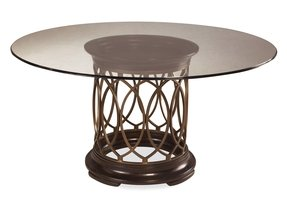 Art intrigue round glass top dining table