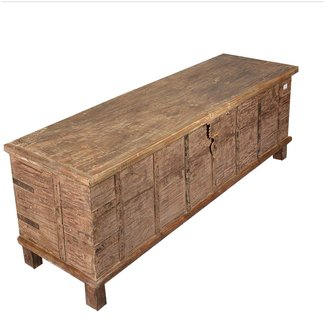 Collection rustic reclaimed wood extra long storage trunk chest