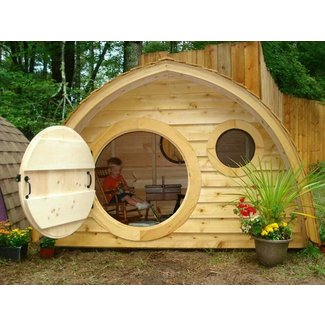 Hobbit hole playhouse with round front