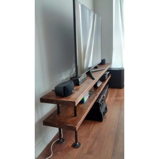 Industrial pipe and wood tv stand media