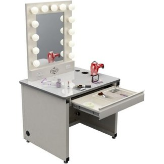 Makeup vanity table with lights and mirror