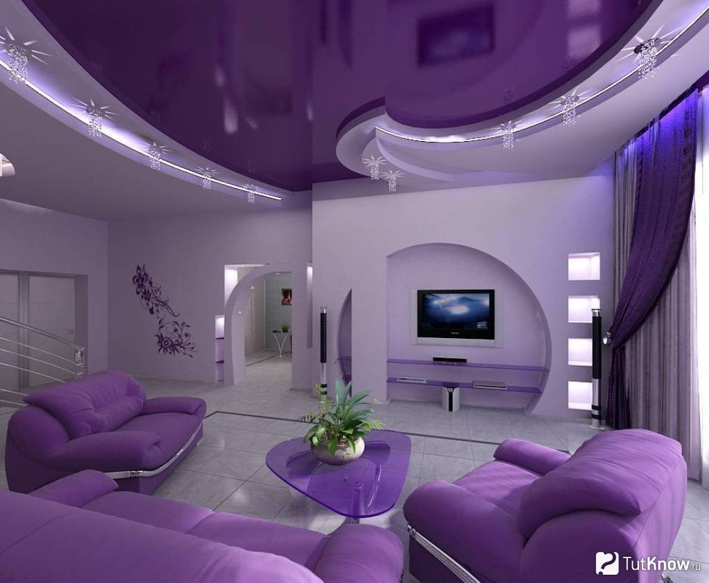 Awesome Purple Black Living Room