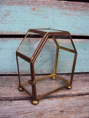 Vintage glass and brass curio display case by primitivepincushion