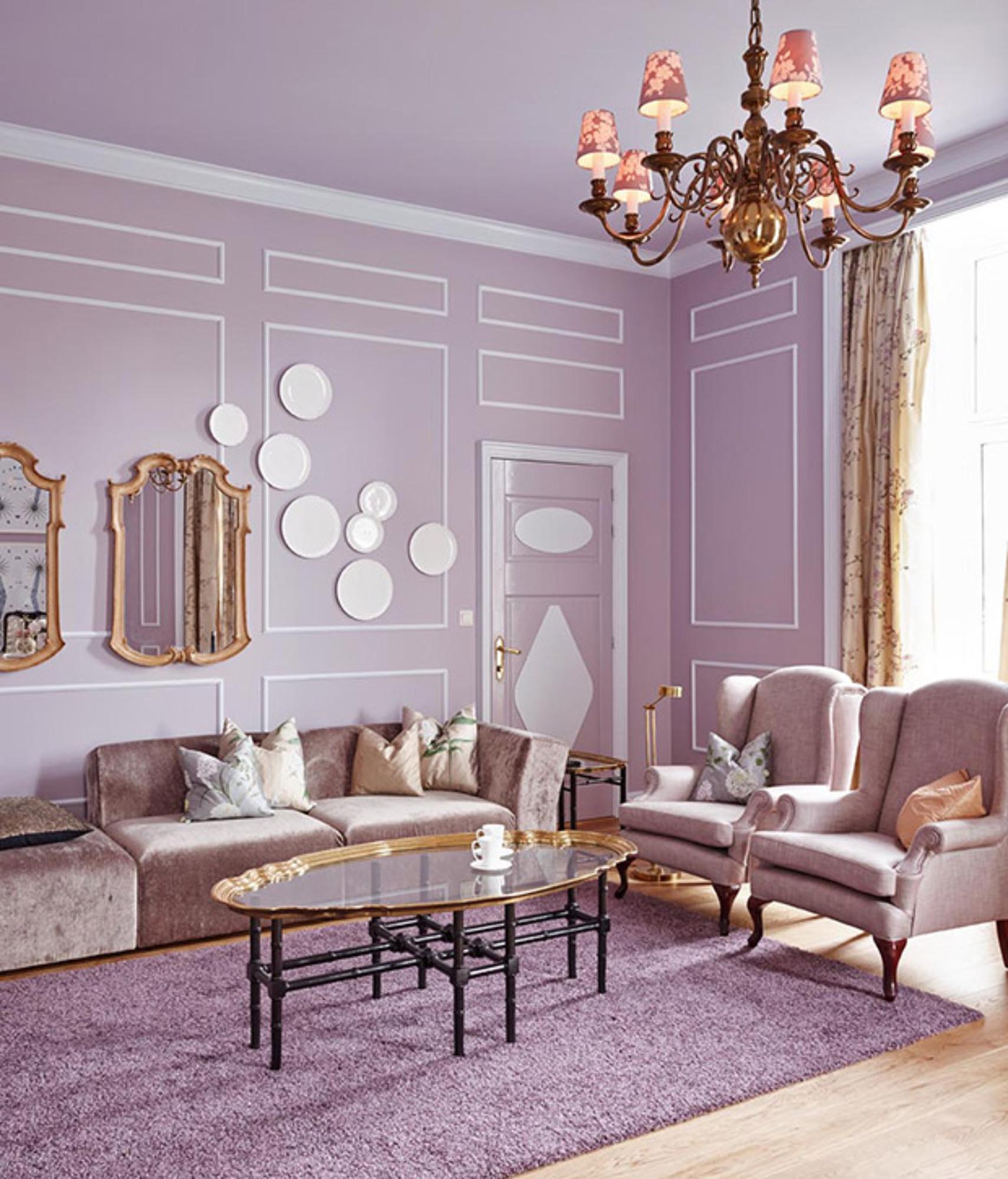 White Purple Living Room