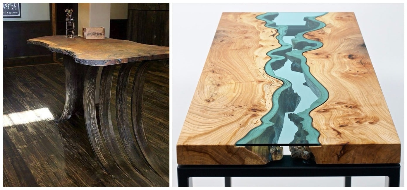 Wood Dining Table With Glass Top 2
