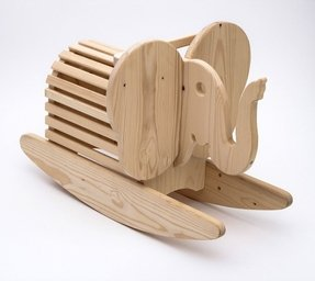 Wooden elephant rocking horse 3