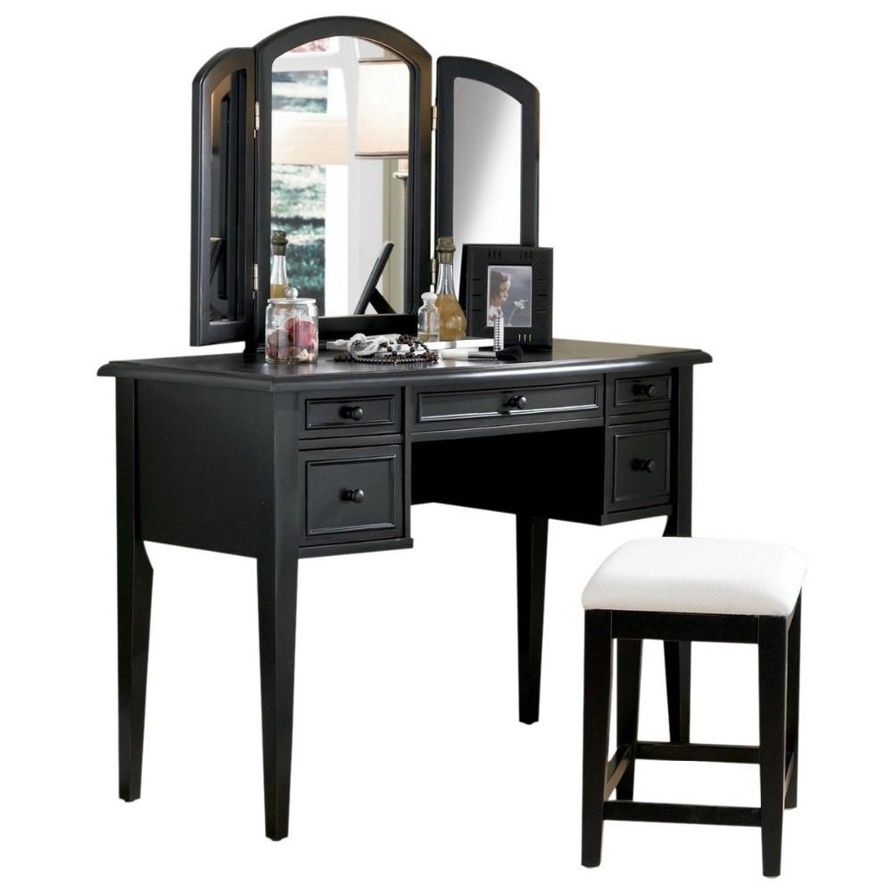 Black Vanity Desk With Mirror 16