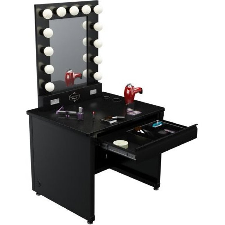 Genial Black Vanity Desk With Mirror