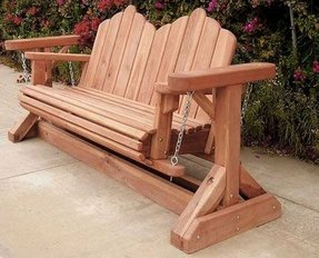 Swing Bench With A Durable Redwood Construction This Glider Features Based On Horizontal Slats In Its Seat Area And Vertical