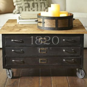 Library metal wood flat file coffee table 1
