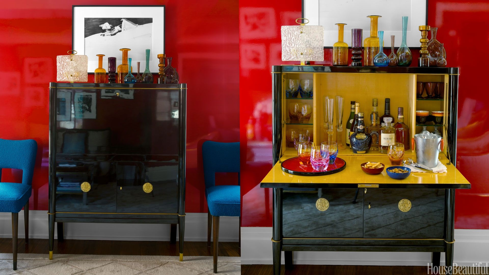 Open Bar Cabinet Colorful Small Apartment