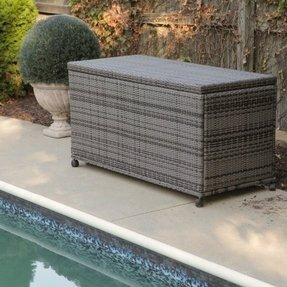 Outdoor wicker storage bench