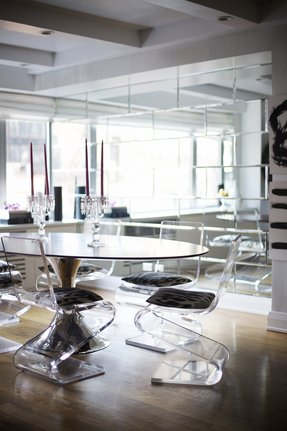 Perspex dining table and chairs