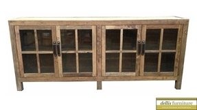 Rustic recycled elm timber glass door sideboard ebay