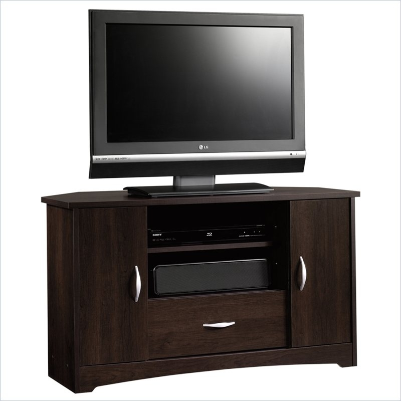 Sauder Beginnings Cinnamon Cherry Corner Tv Stand For Tvs Up To 37