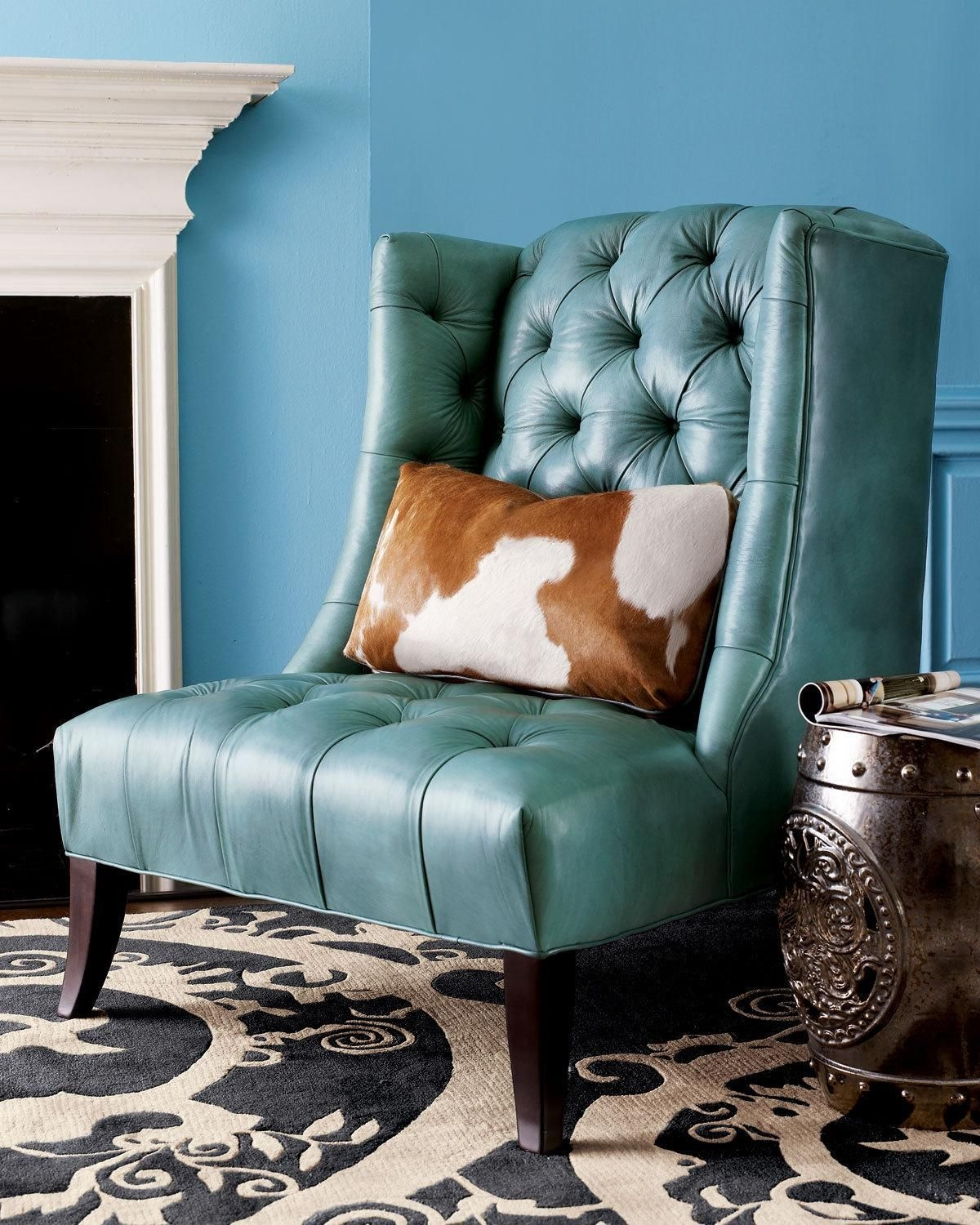 Turquoise Leather Chair With Cowhide Pillow