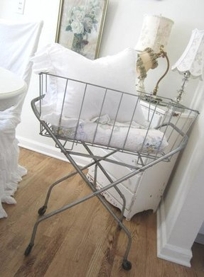 Vintage laundry cart basket shabby french cottage farmhouse antique price
