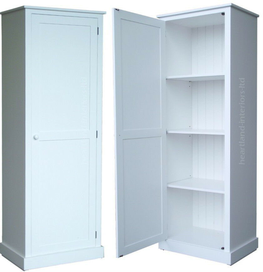 100 Solid Wood Cupboard 180cm Tall White Painted Linen Pantry