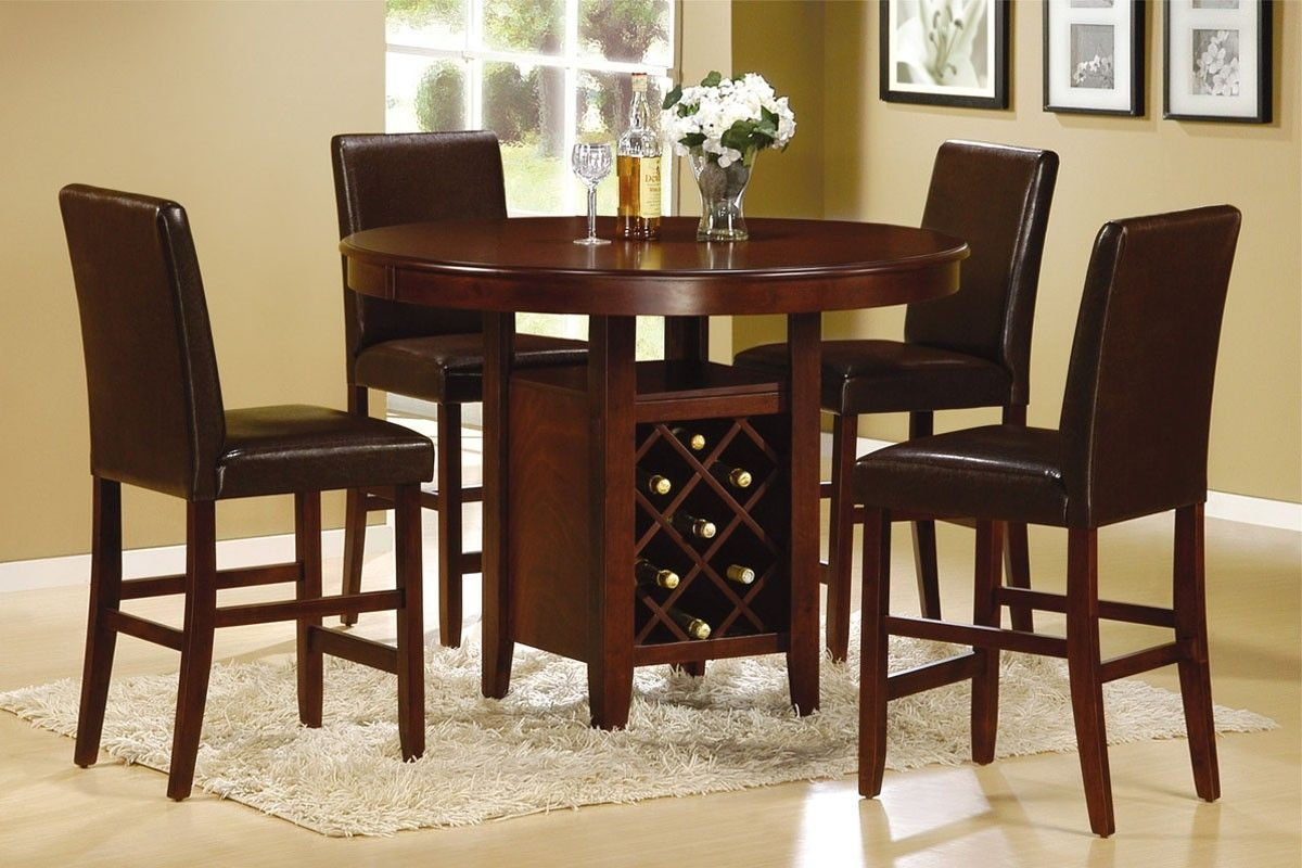 5 Pieces Counter Height Round Dining Set With Wine Storage