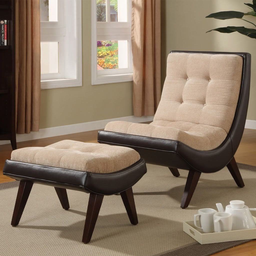 Albury Two Tone Peat Velvet Faux Bi Cast Leather Chair With Ottoman