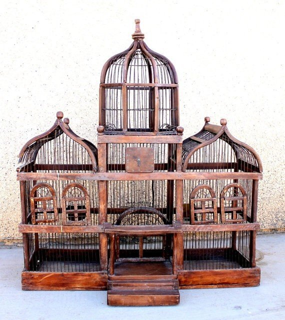Antique wooden birdcage large victorian