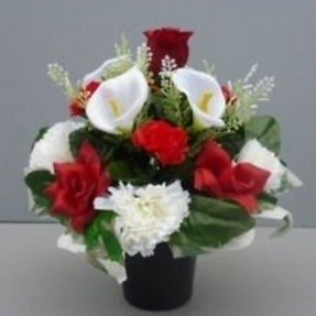 Artificial flowers in vase foter artificial flower arrangement red white in pot for grave memorial mightylinksfo