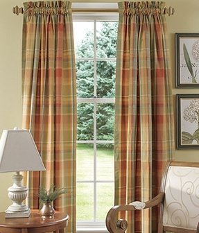 Blue plaid curtains