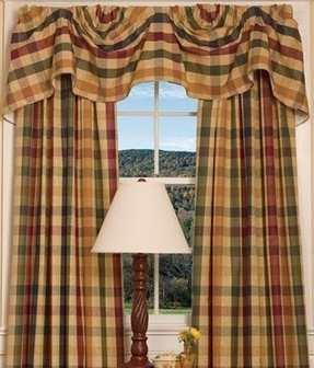 Breakfast room moire plaid lined austrian valance
