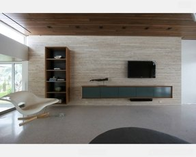 Contemporary wall mounted media console decoist