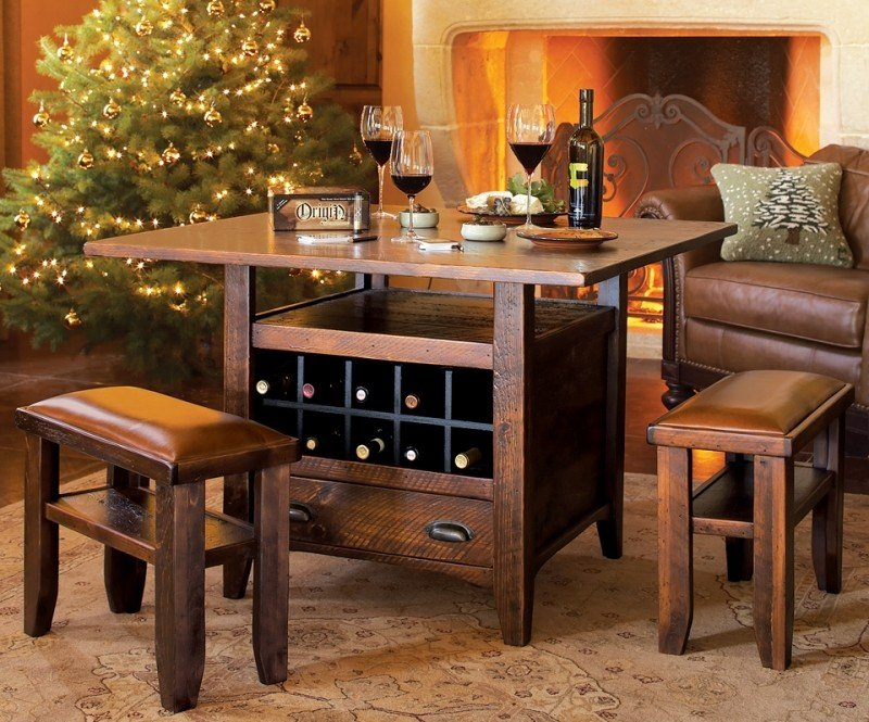 3 Piece Table Set With Base Wheels Storage Dining Table With Wine Rack Jolash Pl