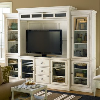 Distressed white entertainment center
