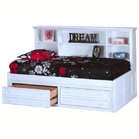 Full bookcase daybed zayley full bedside bookcase daybed with customizable
