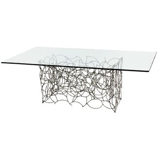 Glass dining table metal base