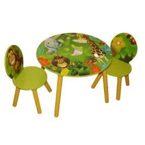 Kids Wooden Round Table And Chairs Set With Storage Jungle