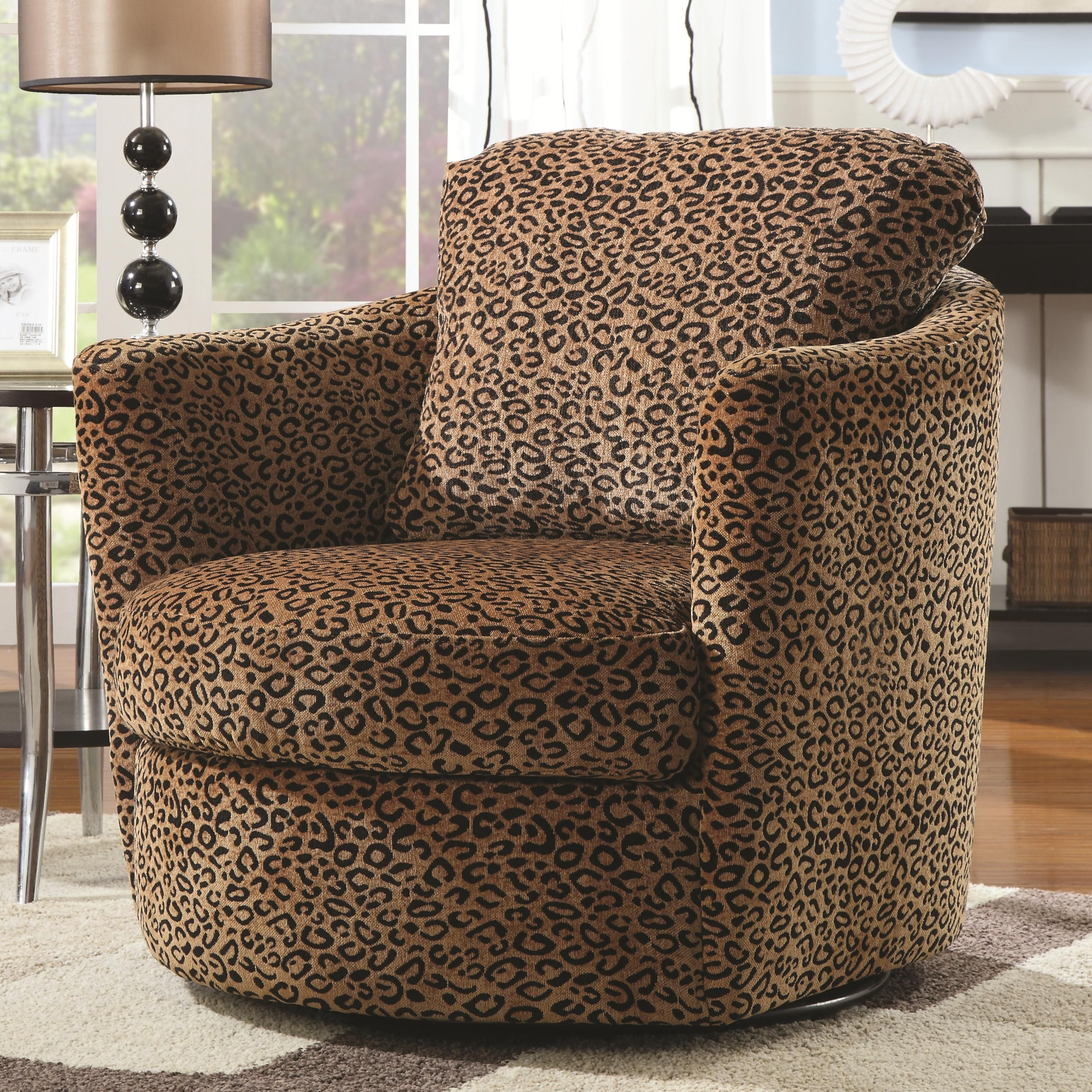Charmant Leopard Print Pattern Fabric Swivel Accent Arm Chair By Coaster