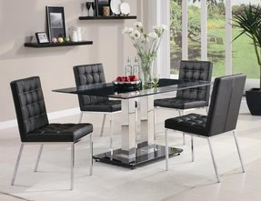 Glass Top Dining Table With Metal Base - Foter