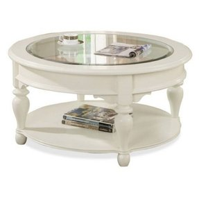 Round wood and glass coffee table 1