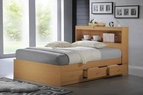 Single bed with bookcase headboard