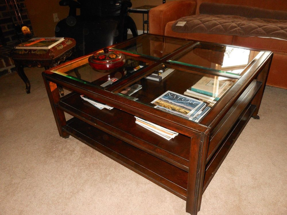 Solid wood glass square display coffee table with shelves