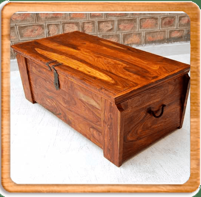 Solid Wood Handmade Storage Trunk Chest Box Coffee Table Wrought