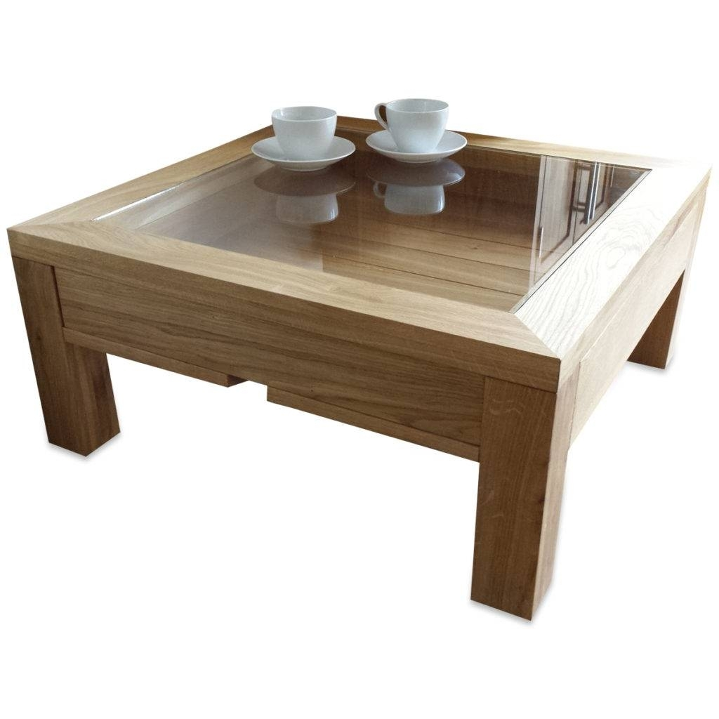 Ordinaire Square Wood And Glass Coffee Table 3