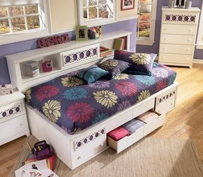 Storage Bed With Bookcase Headboard