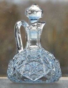 Vintage antique eapg pressed glass oil vinegar cruet bottle prism