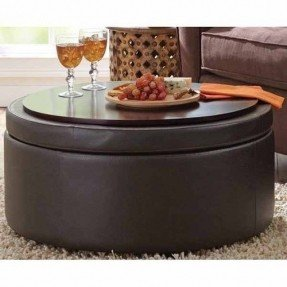Leather Round Ottoman Coffee Table   Ideas On Foter