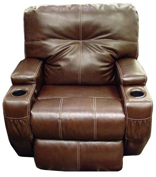 Genial Nova Leather Power Recliner With Cup Holders