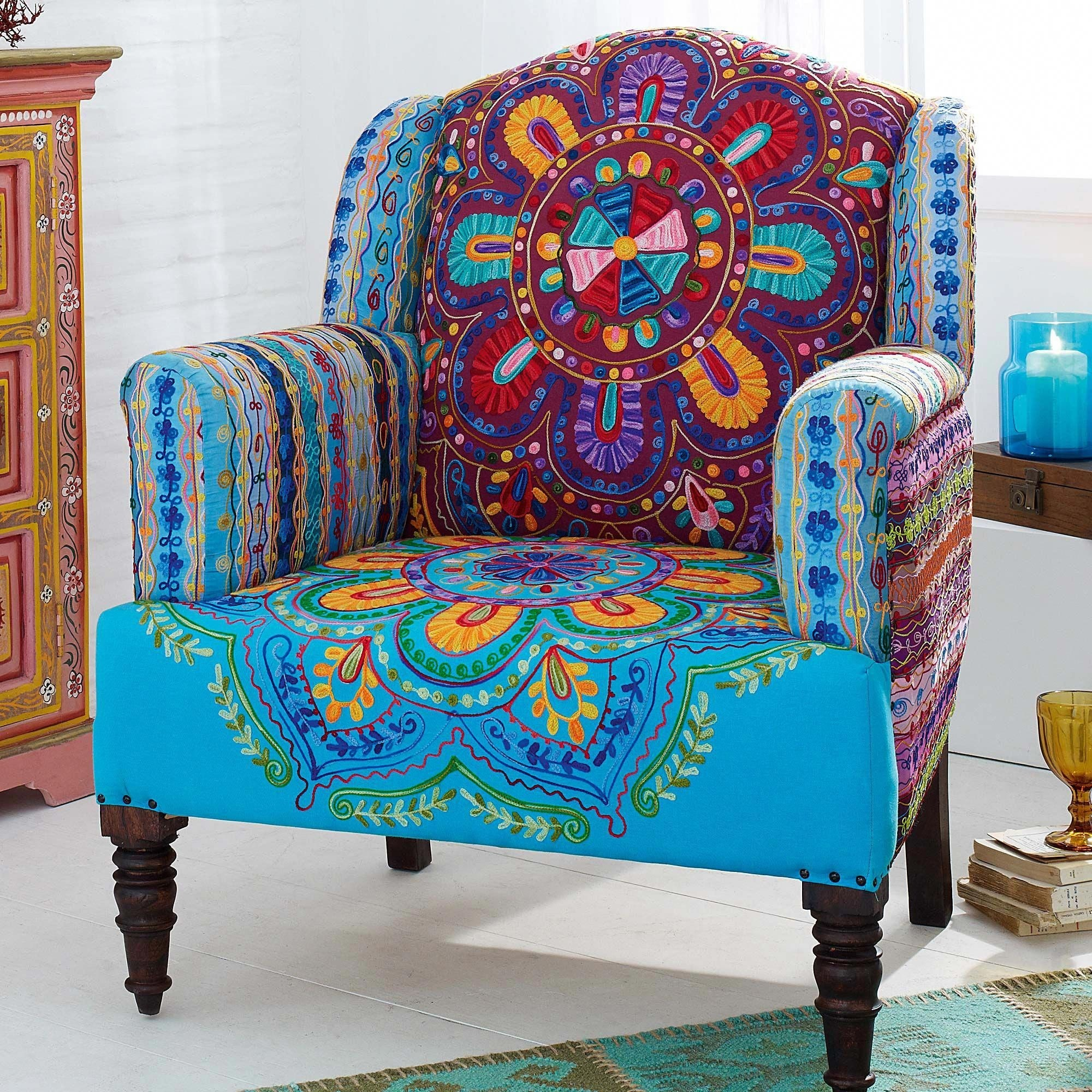 Beau Super Funky Armchair Made From Wood And Printed Fabric With Many Differen  Magical Colors   Blue, Green, Purple, Sunny Beige, White, Violet, Red, Dark  Green.