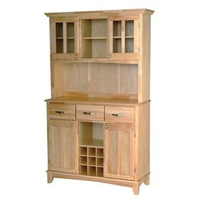 Large wood bakers rack with two door hutch