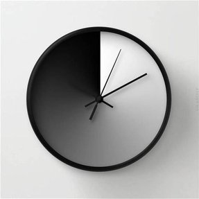 Modern wall clock midday and midnight