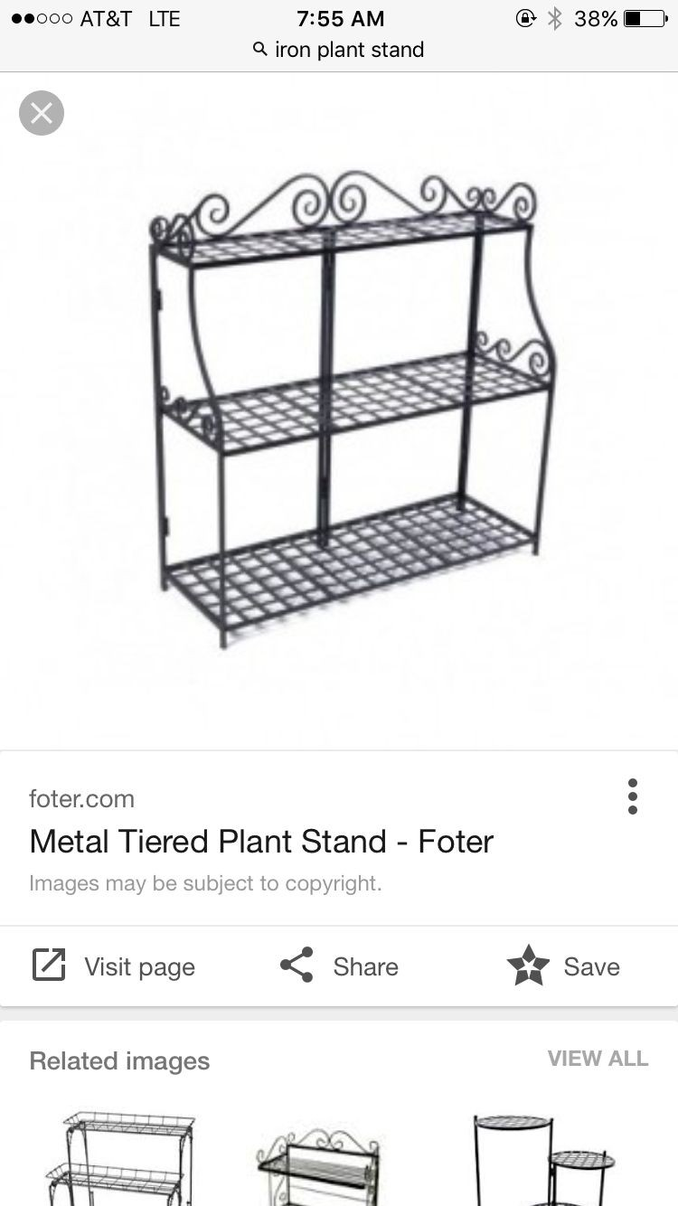Panacea Forged 3 Tier Plant Stand Wrought Iron Planter Garden