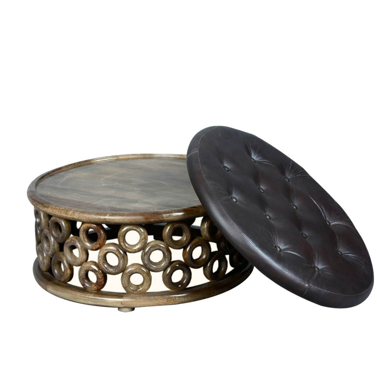 Round Floating Os Mango Wood And Leather Coffee Table Ottoman Eclectic Coffee Tables